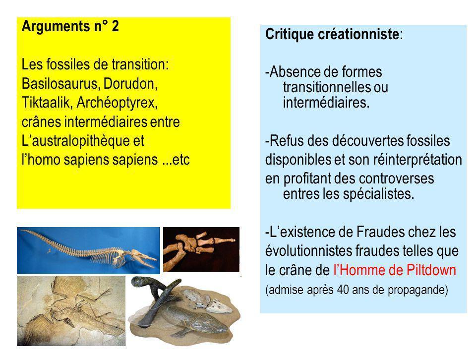 Arguments n° 2 Les fossiles de transition: Basilosaurus, Dorudon, Tiktaalik, Archéoptyrex, crânes intermédiaires entre Laustralopithèque et lhomo sapiens sapiens...etc Critique créationniste : -Absence de formes transitionnelles ou intermédiaires.