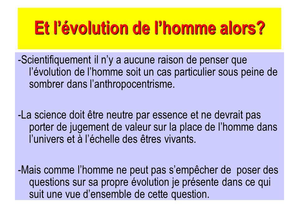 Et lévolution de lhomme alors.