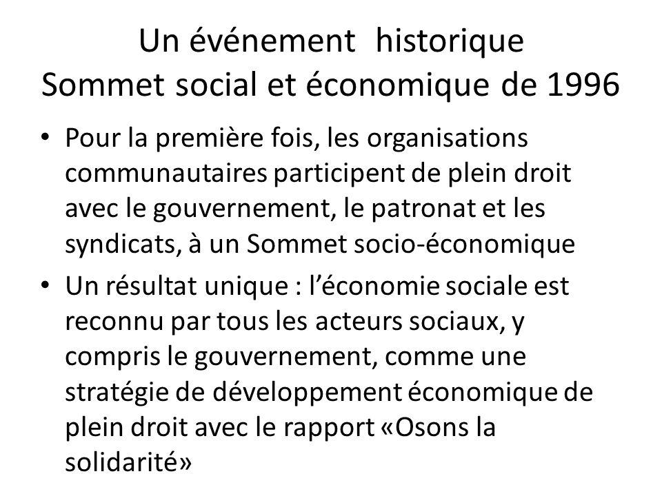 Un événement historique Sommet social et économique de 1996 Pour la première fois, les organisations communautaires participent de plein droit avec le gouvernement, le patronat et les syndicats, à un Sommet socio-économique Un résultat unique : léconomie sociale est reconnu par tous les acteurs sociaux, y compris le gouvernement, comme une stratégie de développement économique de plein droit avec le rapport «Osons la solidarité»