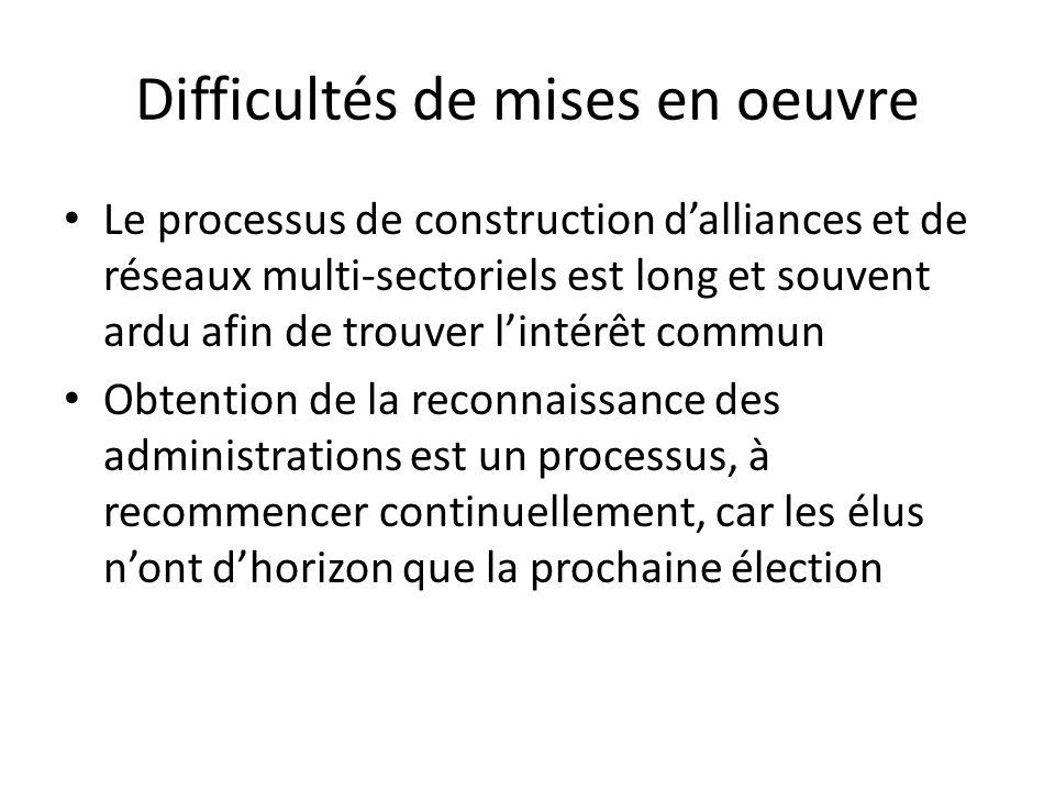 Difficultés de mises en oeuvre Le processus de construction dalliances et de réseaux multi-sectoriels est long et souvent ardu afin de trouver lintérê