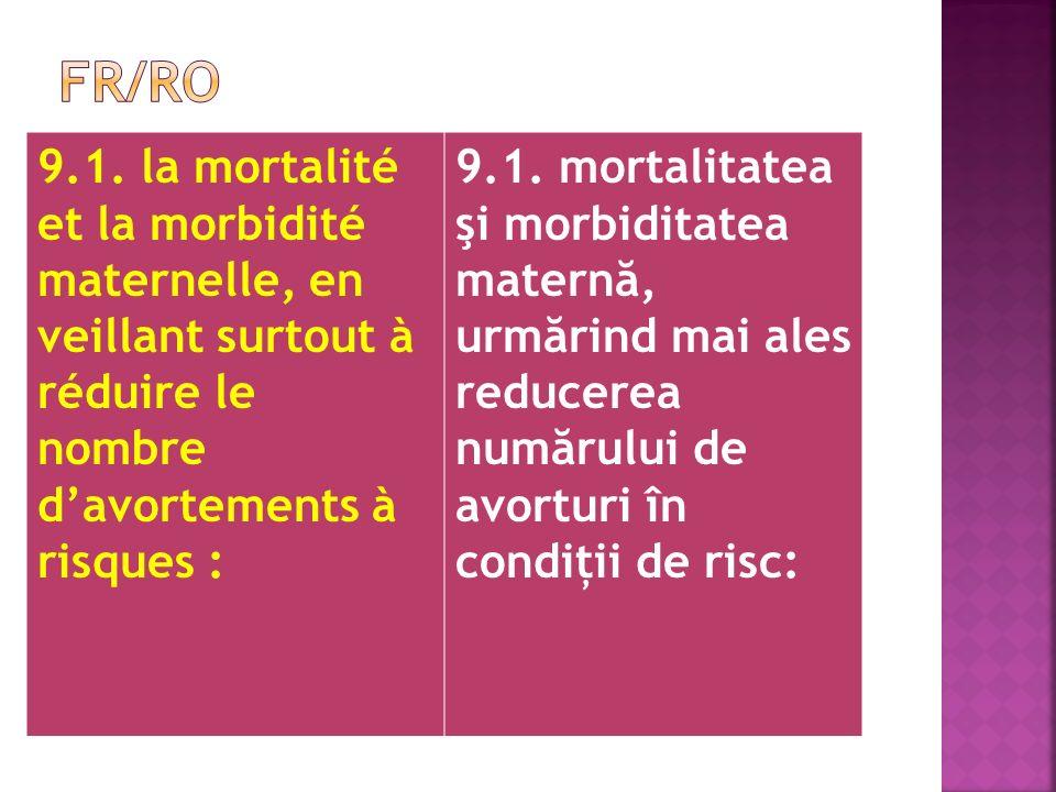 9.1. la mortalité et la morbidité maternelle, en veillant surtout à réduire le nombre davortements à risques : 9.1. mortalitatea şi morbiditatea mater