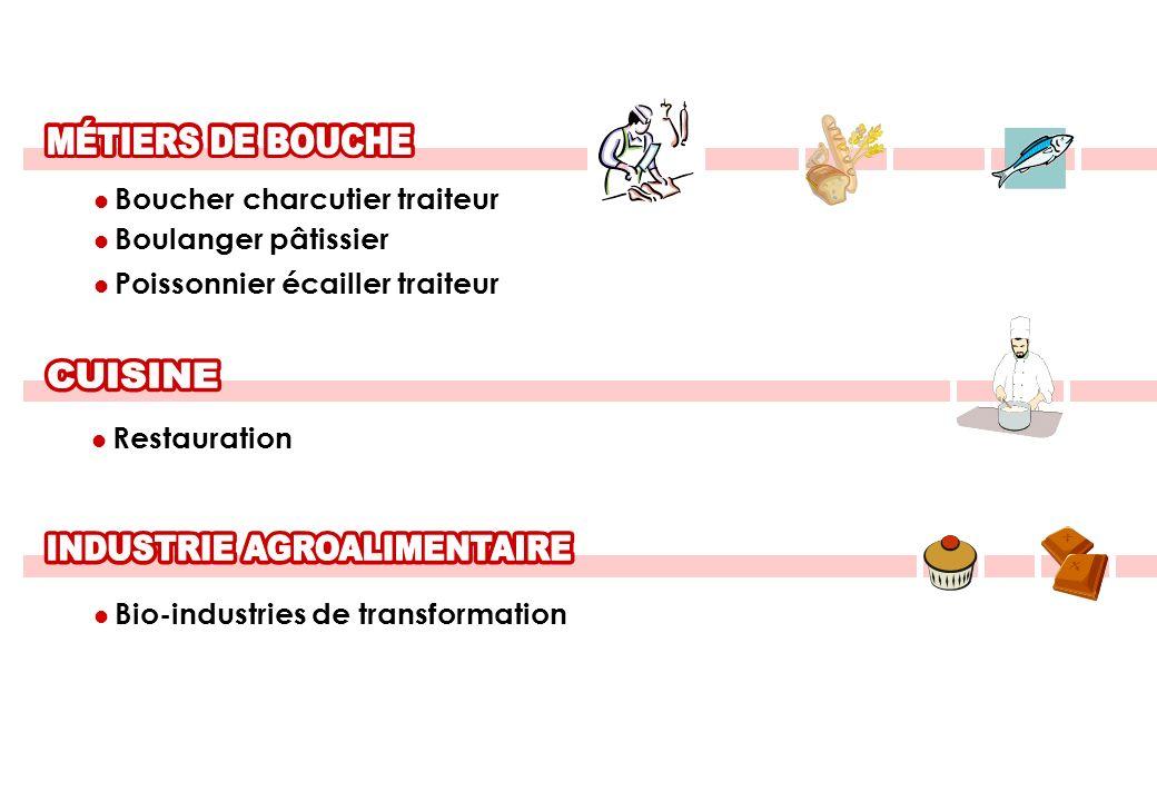 Boucher charcutier traiteur Boulanger pâtissier Poissonnier écailler traiteur Restauration Bio-industries de transformation