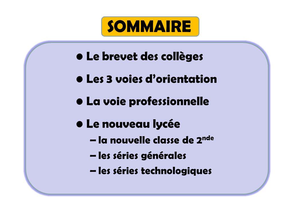 SOMMAIRE Le brevet des collèges Les 3 voies dorientation La voie professionnelle Le nouveau lycée –la nouvelle classe de 2 nde –les séries générales –