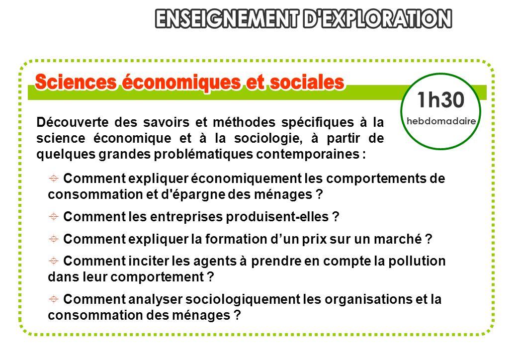 Découverte des savoirs et méthodes spécifiques à la science économique et à la sociologie, à partir de quelques grandes problématiques contemporaines