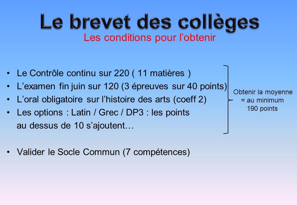 Le Contrôle continu sur 220 ( 11 matières ) Lexamen fin juin sur 120 (3 épreuves sur 40 points) Loral obligatoire sur lhistoire des arts (coeff 2) Les