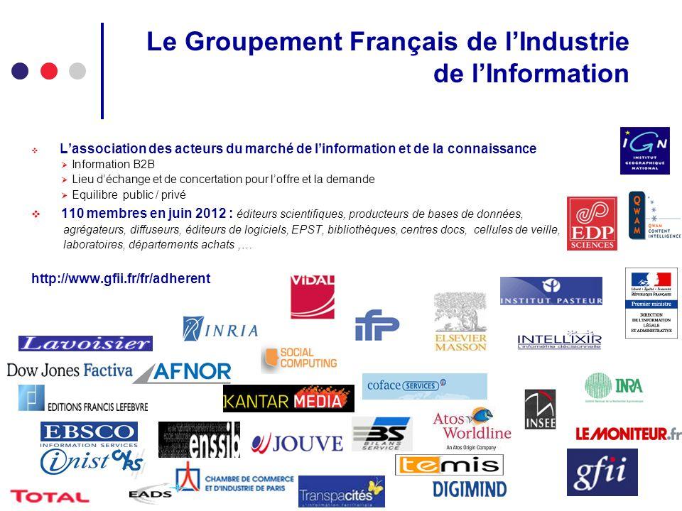 Le Groupement Français de lIndustrie de lInformation Lassociation des acteurs du marché de linformation et de la connaissance Information B2B Lieu déc