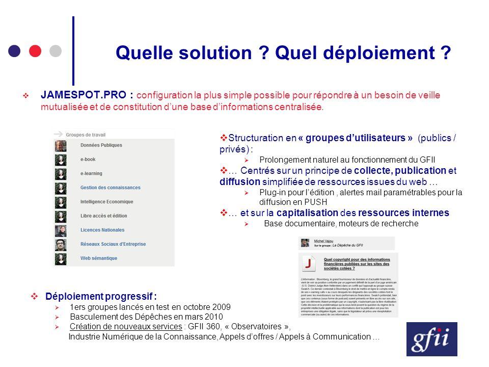 Quelle solution ? Quel déploiement ? JAMESPOT.PRO : configuration la plus simple possible pour répondre à un besoin de veille mutualisée et de constit