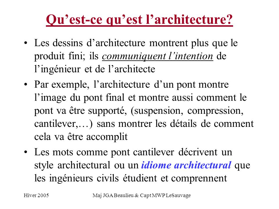 Hiver 2005Maj JGA Beaulieu & Capt MWP LeSauvage Quest-ce quest larchitecture.