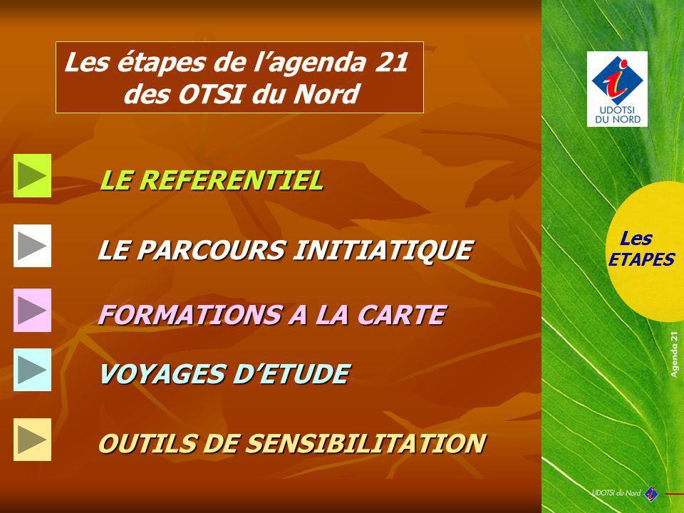 Les étapes de lagenda 21 des OTSI du Nord LE REFERENTIEL LE REFERENTIEL LE PARCOURS INITIATIQUE VOYAGES DETUDE FORMATIONS A LA CARTE OUTILS DE SENSIBI