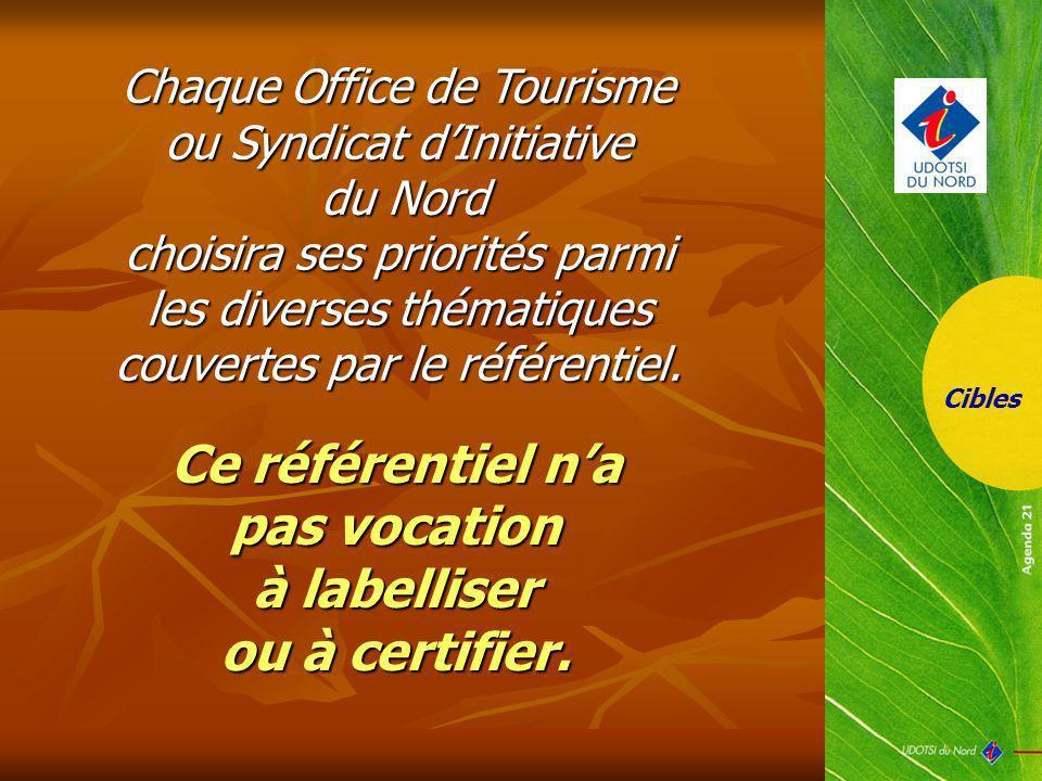Chaque Office de Tourisme ou Syndicat dInitiative du Nord choisira ses priorités parmi les diverses thématiques couvertes par le référentiel. Cibles C