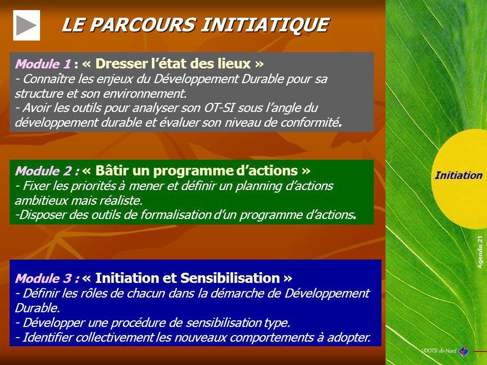 LE PARCOURS INITIATIQUE Module 3 : « Initiation et Sensibilisation » - Définir les rôles de chacun dans la démarche de Développement Durable. - Dévelo