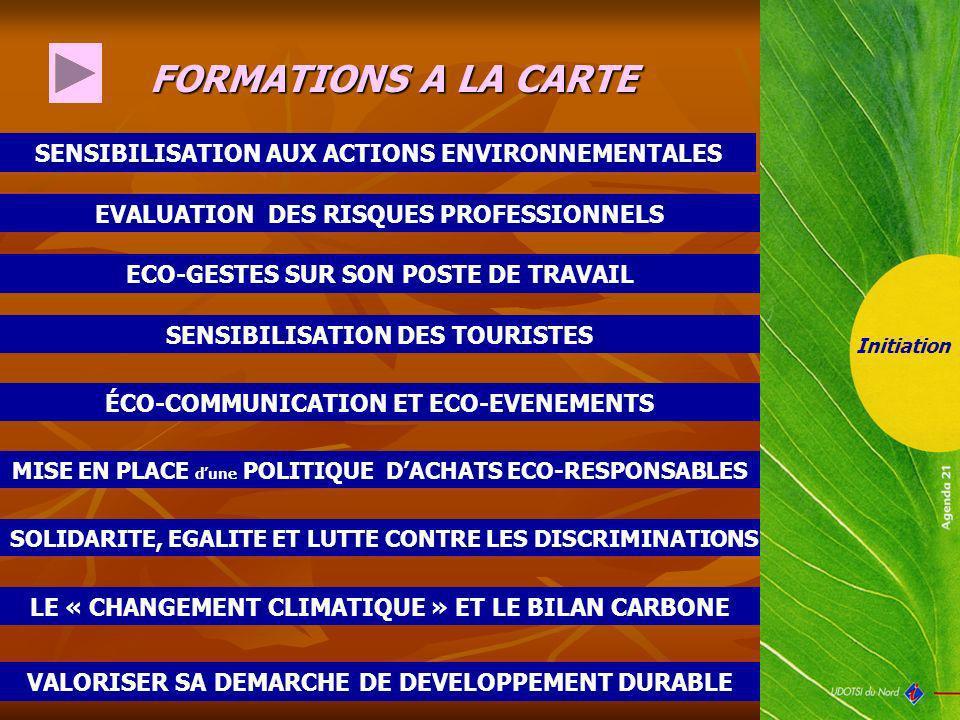 SOLIDARITE, EGALITE ET LUTTE CONTRE LES DISCRIMINATIONS FORMATIONS A LA CARTE SENSIBILISATION AUX ACTIONS ENVIRONNEMENTALES Initiation EVALUATION DES