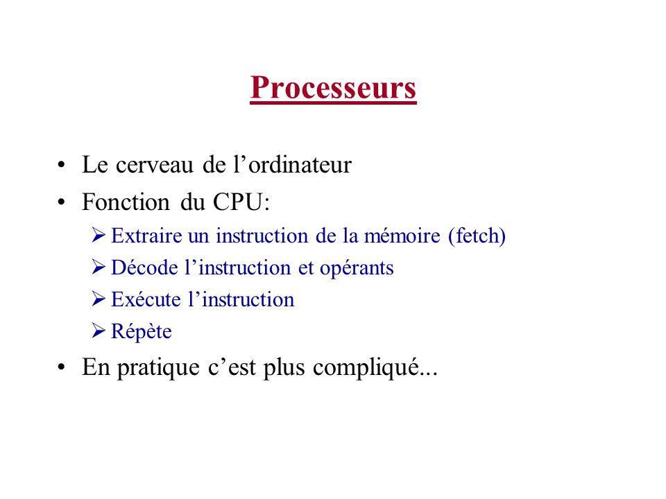 Processeurs (parties) Le cœur du CPU est lALU (unité arithmétique et logique) Autres ressources a lintérieur du CPU: Registres génériques Utilisés pour garder les variables durant les calculs Compteur ordinal (Program counter) Pointe à la prochaine instruction à extraire de la mémoire