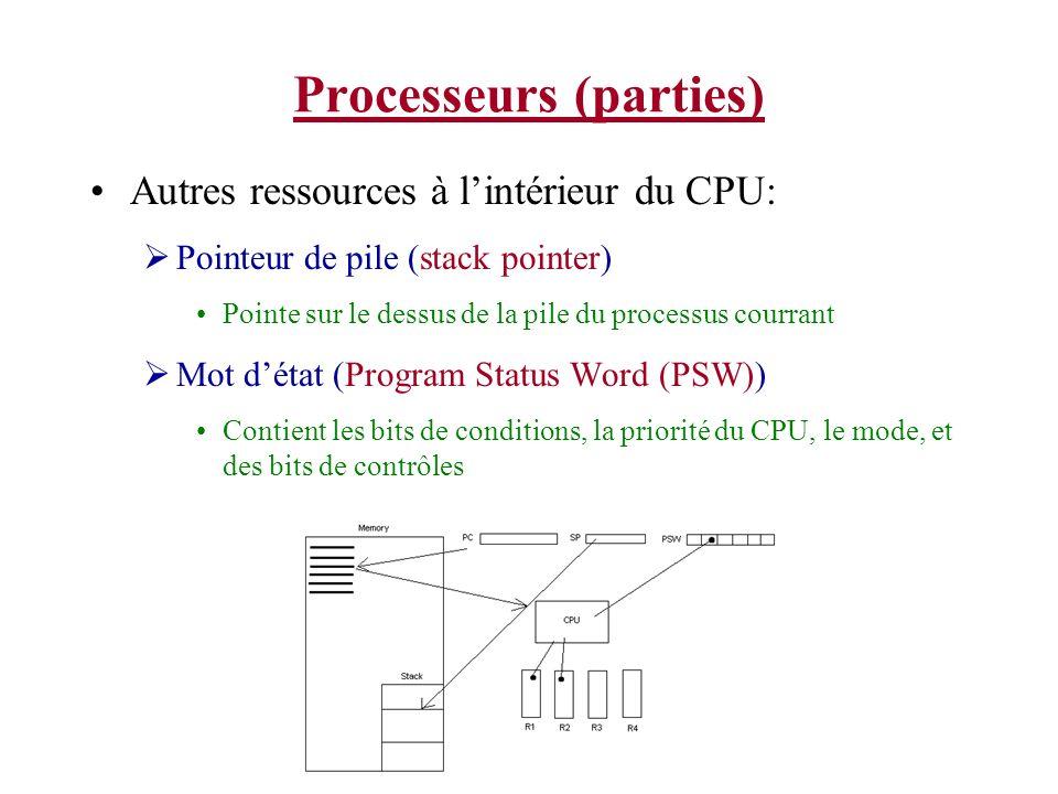 Processeurs (parties) Autres ressources à lintérieur du CPU: Pointeur de pile (stack pointer) Pointe sur le dessus de la pile du processus courrant Mo
