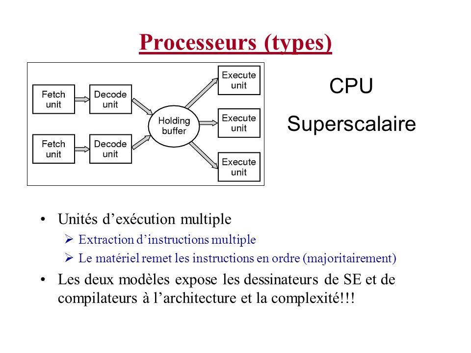 Processeurs (modes) Deux modes: Noyau (Kernel) Toutes les micro instructions sont disponible Le SE travail dans ce mode Les programmes peuvent entrer dans ce mode pour faire exécuter une instruction réservée en utilisant une trap (déroutement) Usager (User) Programmes voient seulement une région restreinte de la mémoire Seulement certaines instructions sont disponible pour accès Normalement les E/S et les fonctions de la mémoire ne sont pas permis