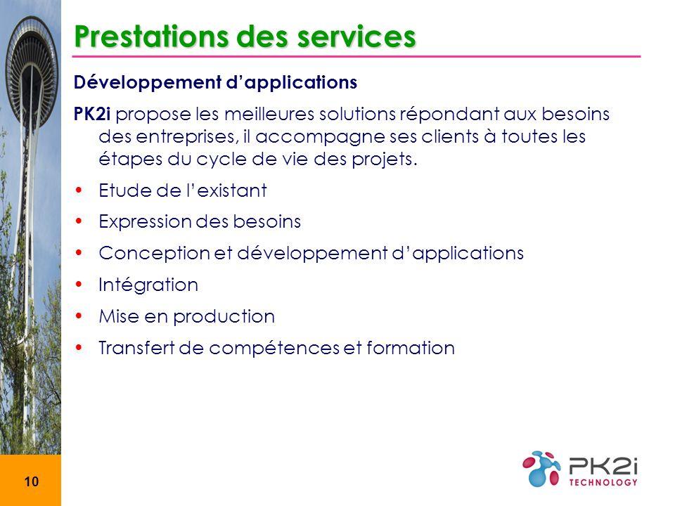 10 Prestations des services Développement dapplications PK2i propose les meilleures solutions répondant aux besoins des entreprises, il accompagne ses