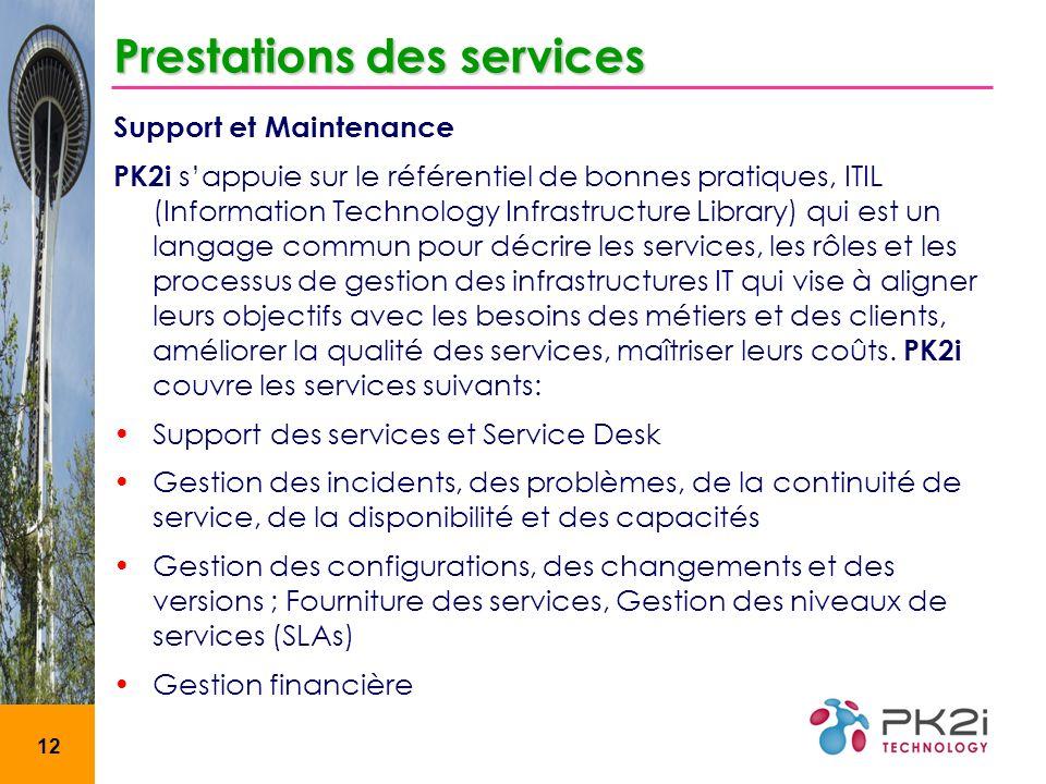12 Prestations des services Support et Maintenance PK2i sappuie sur le référentiel de bonnes pratiques, ITIL (Information Technology Infrastructure Li