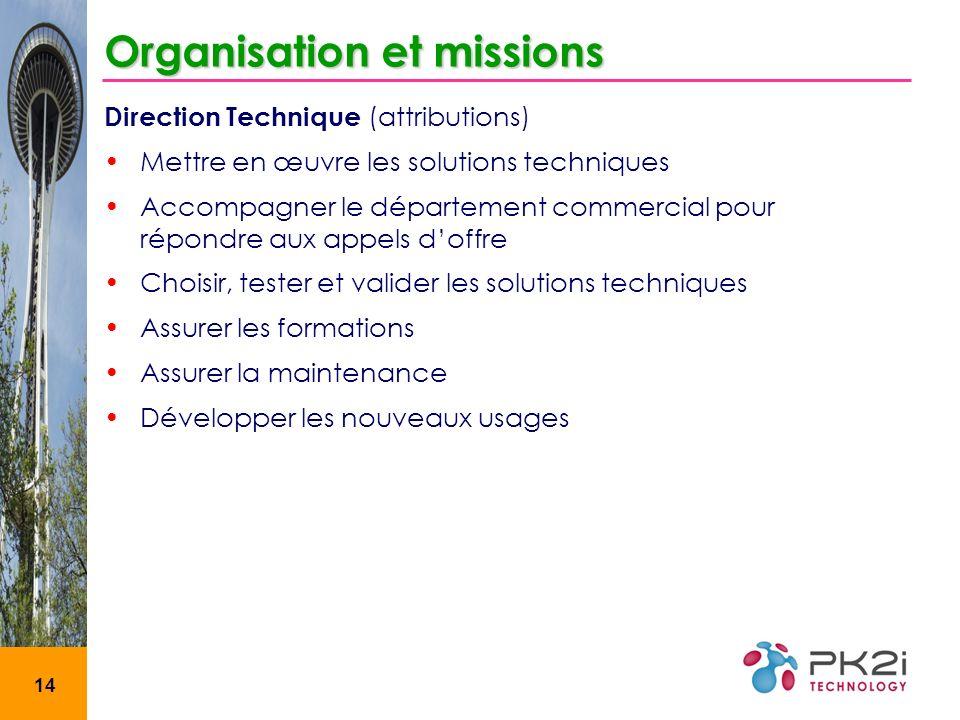 14 Organisation et missions Direction Technique (attributions) Mettre en œuvre les solutions techniques Accompagner le département commercial pour rép