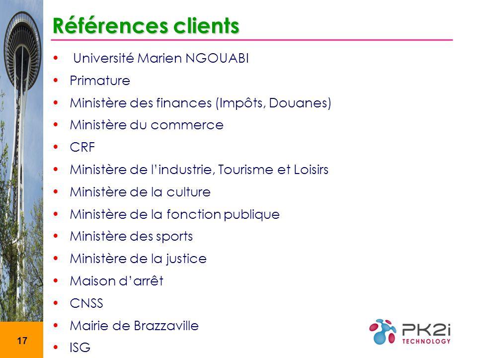17 Références clients Université Marien NGOUABI Primature Ministère des finances (Impôts, Douanes) Ministère du commerce CRF Ministère de lindustrie,