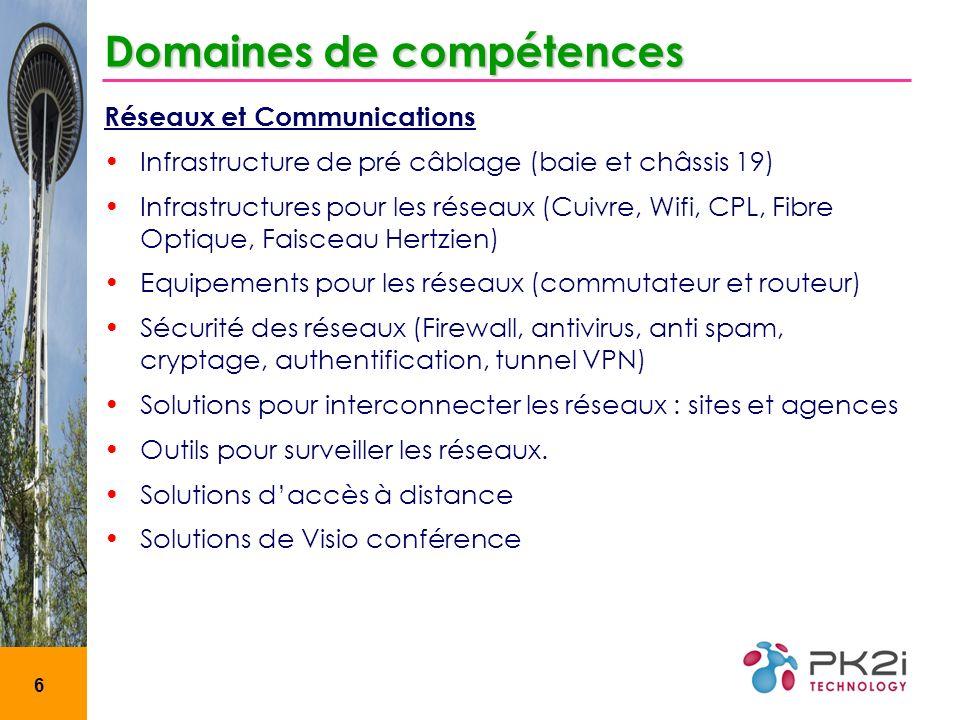 6 Domaines de compétences Réseaux et Communications Infrastructure de pré câblage (baie et châssis 19) Infrastructures pour les réseaux (Cuivre, Wifi,