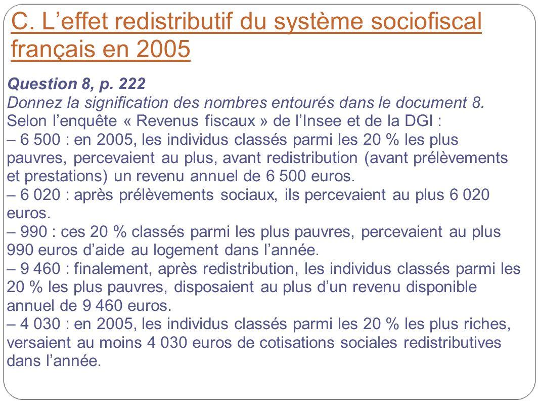C. Leffet redistributif du système sociofiscal français en 2005 Question 8, p. 222 Donnez la signification des nombres entourés dans le document 8. Se