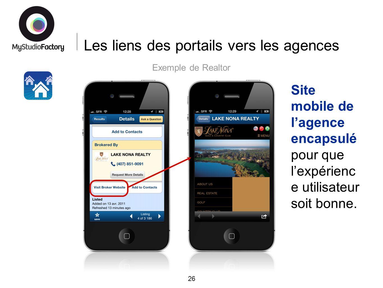 Les liens des portails vers les agences 26 Exemple de Realtor Site mobile de lagence encapsulé pour que lexpérienc e utilisateur soit bonne.