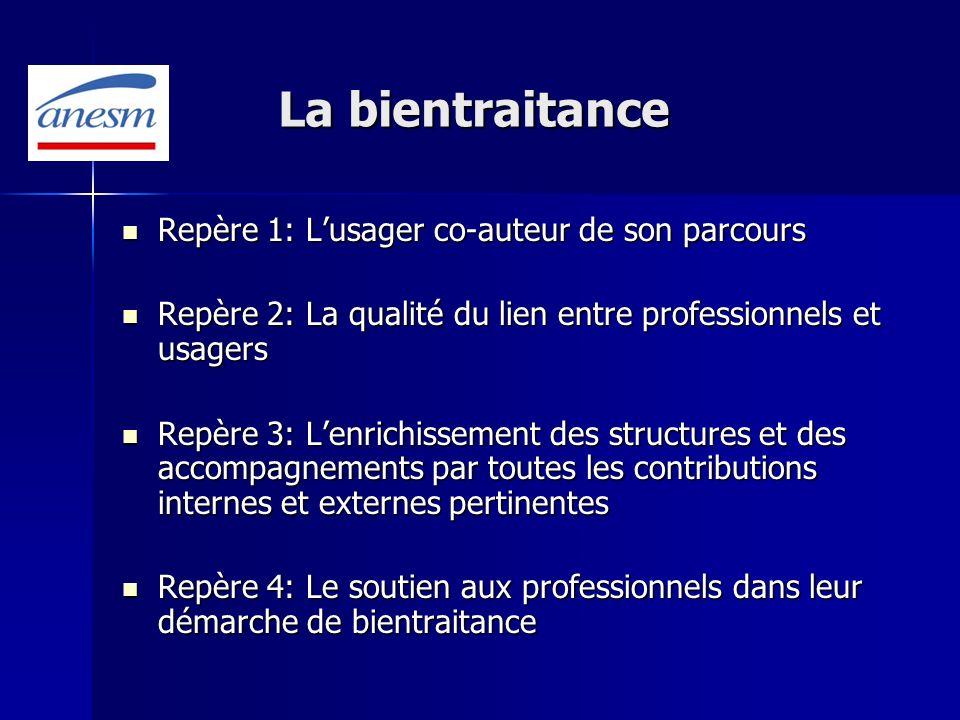 La bientraitance Repère 1: Lusager co-auteur de son parcours Repère 1: Lusager co-auteur de son parcours Repère 2: La qualité du lien entre profession