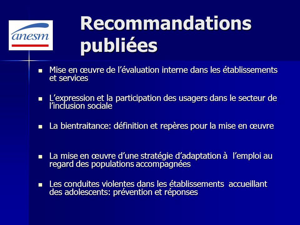 Recommandations publiées Mise en œuvre de lévaluation interne dans les établissements et services Mise en œuvre de lévaluation interne dans les établi