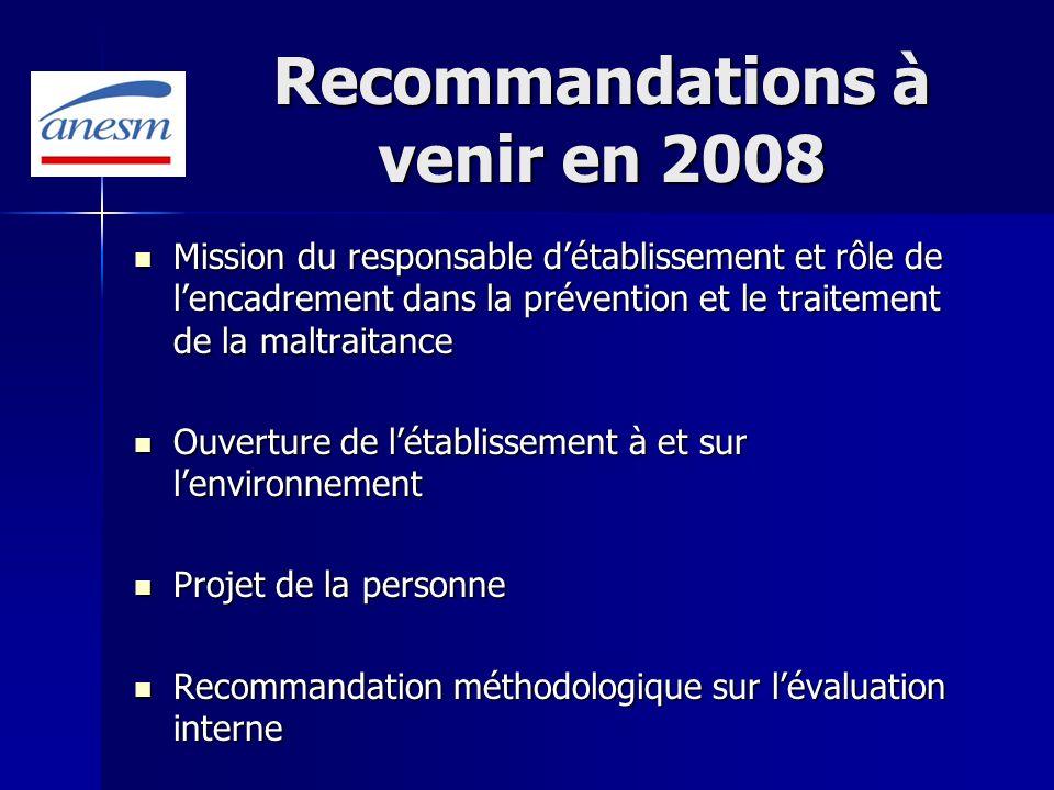 Recommandations à venir en 2008 Mission du responsable détablissement et rôle de lencadrement dans la prévention et le traitement de la maltraitance M