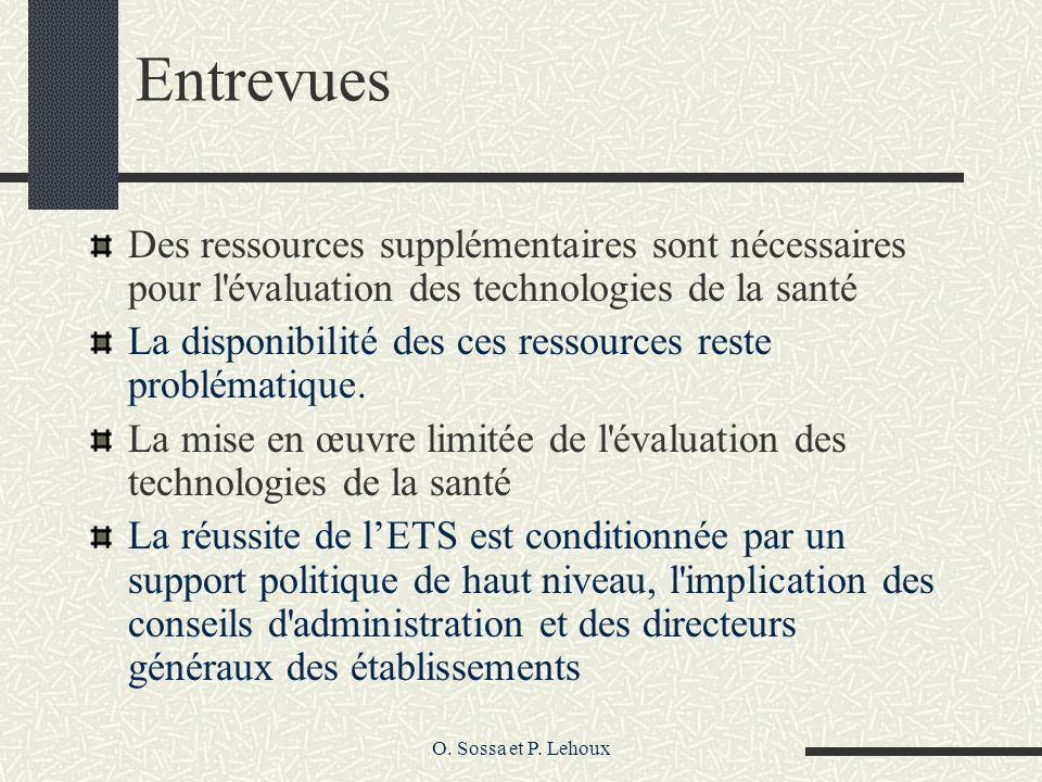 O. Sossa et P. Lehoux Entrevues Des ressources supplémentaires sont nécessaires pour l'évaluation des technologies de la santé La disponibilité des ce