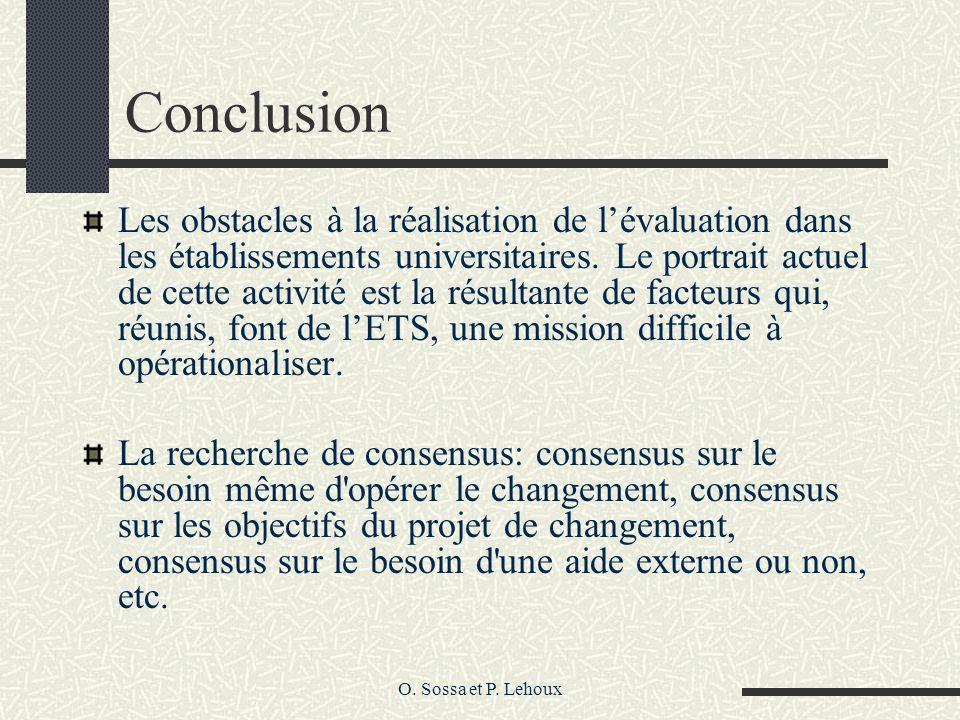 O. Sossa et P. Lehoux Conclusion Les obstacles à la réalisation de lévaluation dans les établissements universitaires. Le portrait actuel de cette act