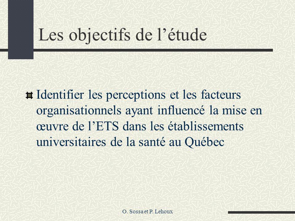 O. Sossa et P. Lehoux Les objectifs de létude Identifier les perceptions et les facteurs organisationnels ayant influencé la mise en œuvre de lETS dan