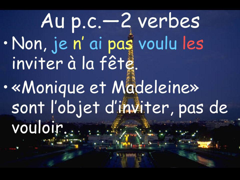 Au p.c.2 verbes Non, je n ai pas voulu les inviter à la fête. «Monique et Madeleine» sont lobjet dinviter, pas de vouloir.