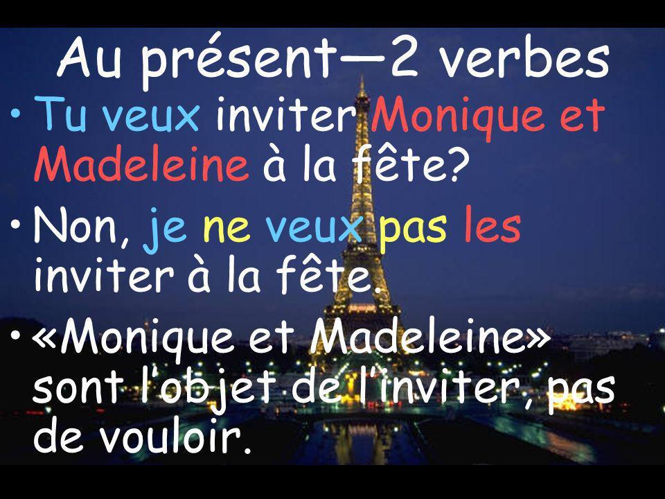 Au présent2 verbes Tu veux inviter Monique et Madeleine à la fête? Non, je ne veux pas les inviter à la fête. «Monique et Madeleine» sont lobjet de li