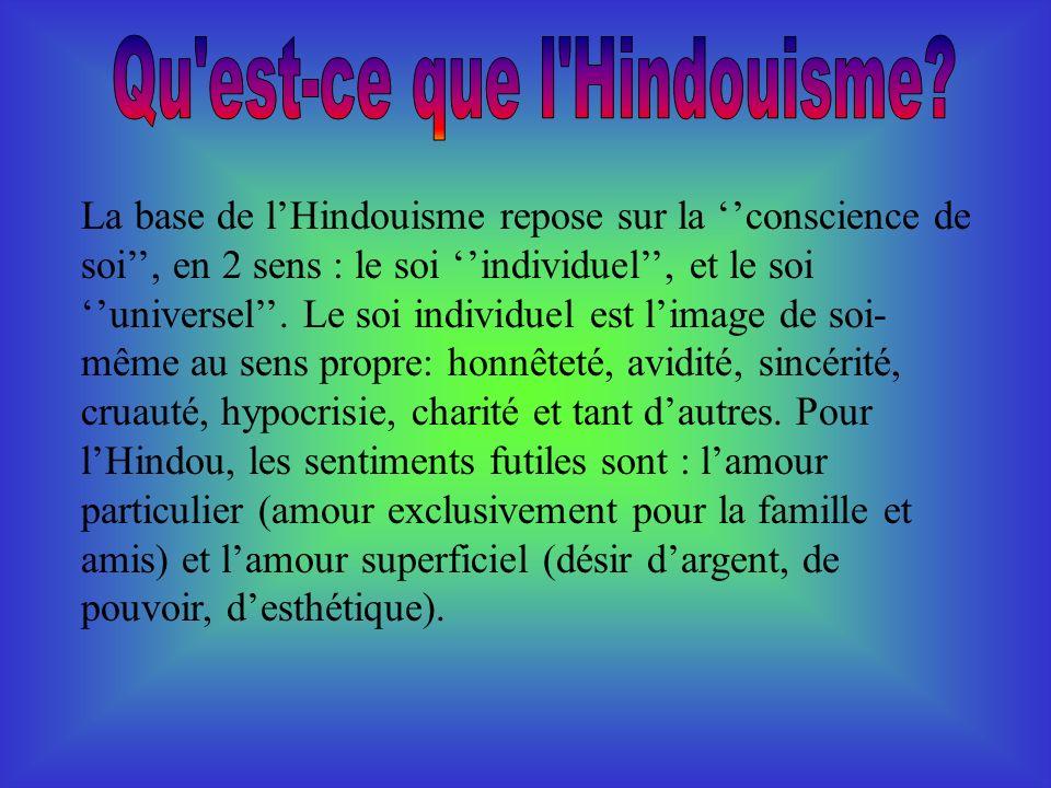 La base de lHindouisme repose sur la conscience de soi, en 2 sens : le soi individuel, et le soi universel.