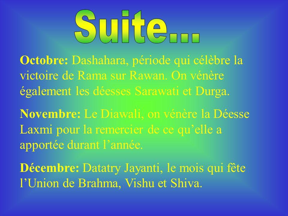 Octobre: Dashahara, période qui célèbre la victoire de Rama sur Rawan.