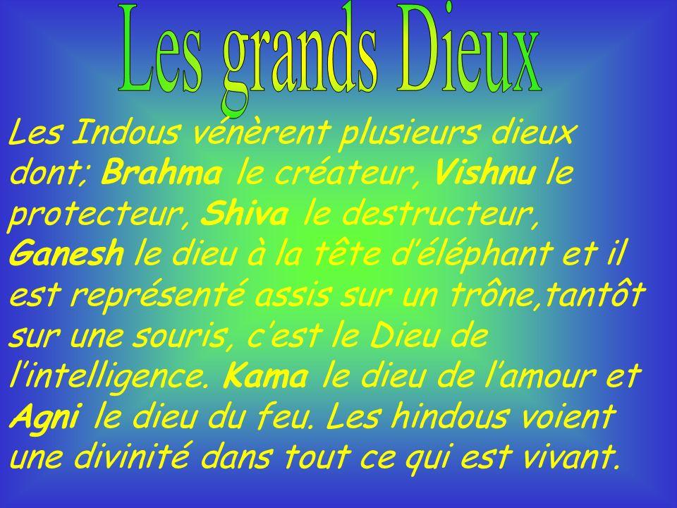 Les Indous vénèrent plusieurs dieux dont; Brahma le créateur, Vishnu le protecteur, Shiva le destructeur, Ganesh le dieu à la tête déléphant et il est représenté assis sur un trône,tantôt sur une souris, cest le Dieu de lintelligence.
