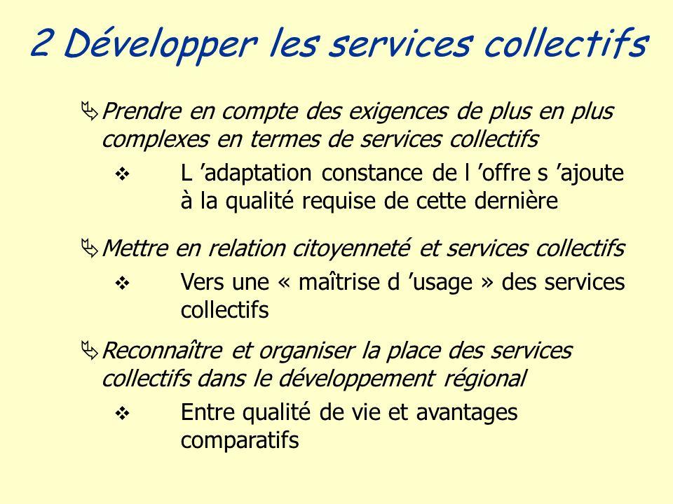 Prendre en compte des exigences de plus en plus complexes en termes de services collectifs L adaptation constance de l offre s ajoute à la qualité req