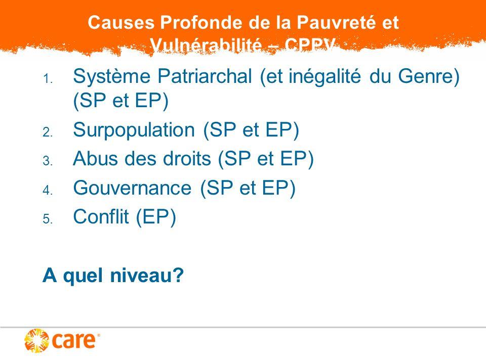 Causes Profonde de la Pauvreté et Vulnérabilité – CPPV 1. Système Patriarchal (et inégalité du Genre) (SP et EP) 2. Surpopulation (SP et EP) 3. Abus d