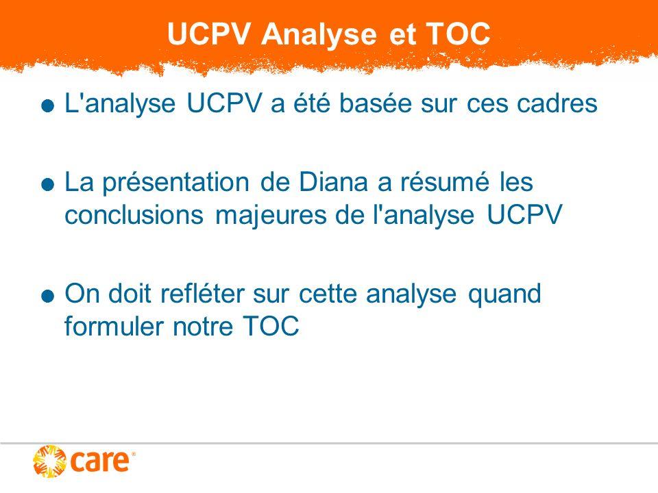 UCPV Analyse et TOC L analyse UCPV a été basée sur ces cadres La présentation de Diana a résumé les conclusions majeures de l analyse UCPV On doit refléter sur cette analyse quand formuler notre TOC