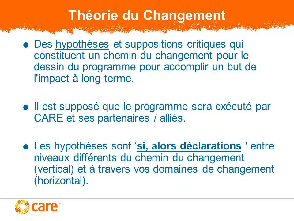 Théorie du Changement Des hypothèses et suppositions critiques qui constituent un chemin du changement pour le dessin du programme pour accomplir un but de l impact à long terme.