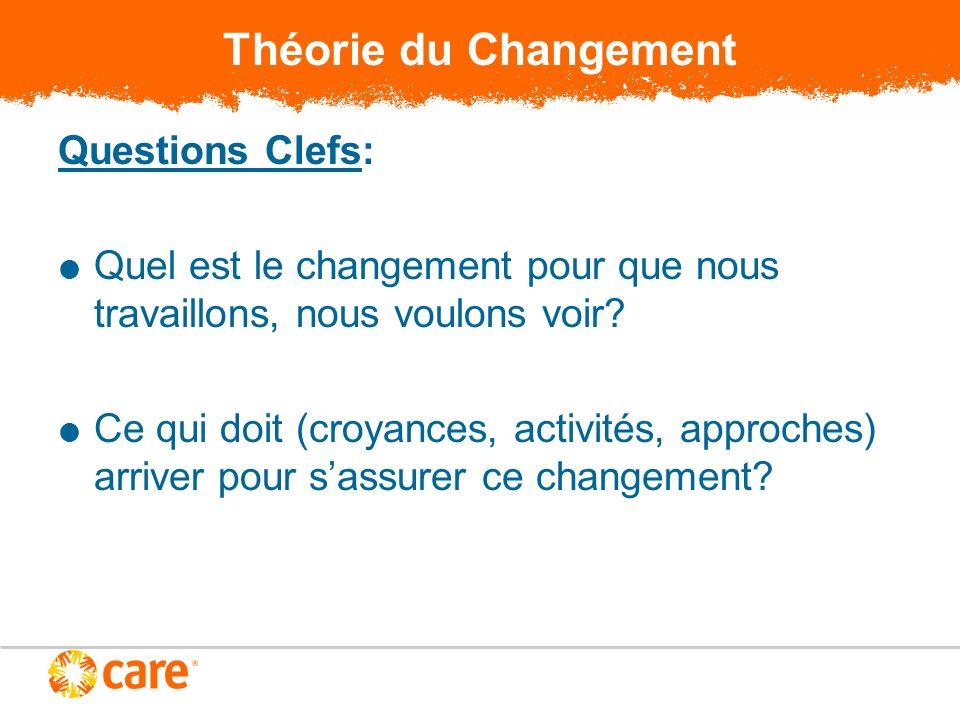 Théorie du Changement Questions Clefs: Quel est le changement pour que nous travaillons, nous voulons voir? Ce qui doit (croyances, activités, approch