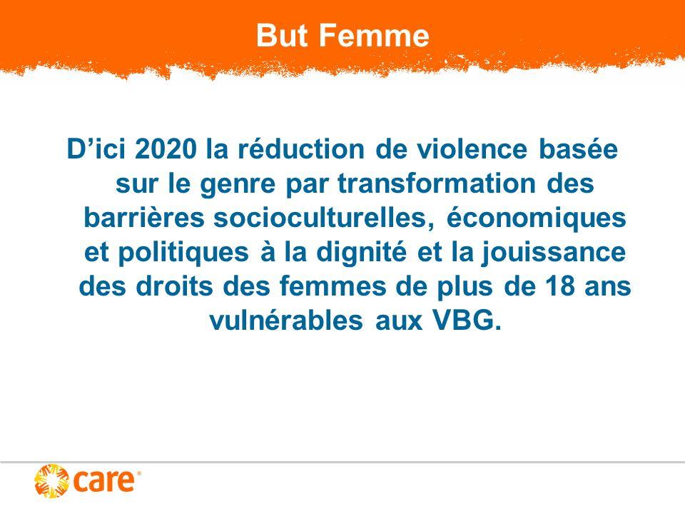 But Femme Dici 2020 la réduction de violence basée sur le genre par transformation des barrières socioculturelles, économiques et politiques à la dignité et la jouissance des droits des femmes de plus de 18 ans vulnérables aux VBG.