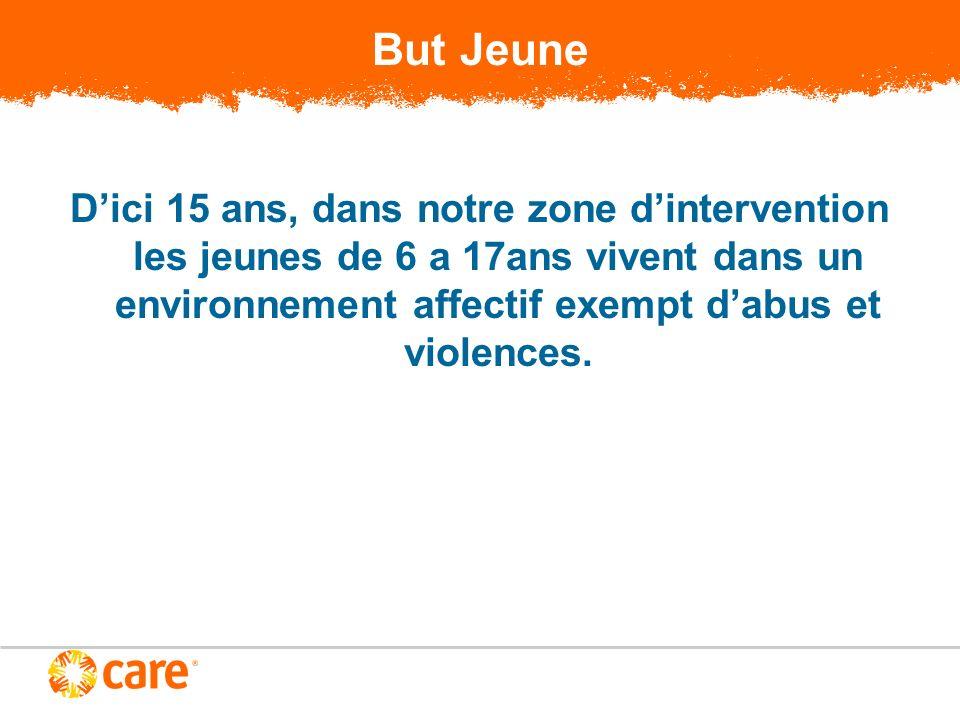 But Jeune Dici 15 ans, dans notre zone dintervention les jeunes de 6 a 17ans vivent dans un environnement affectif exempt dabus et violences.