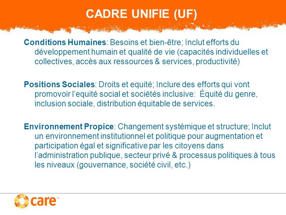 CADRE UNIFIE (UF) Si on surmonte chaque domaine (CH, PS et EP), on va eradiquer la pauvrete et sassurer la justice sociale