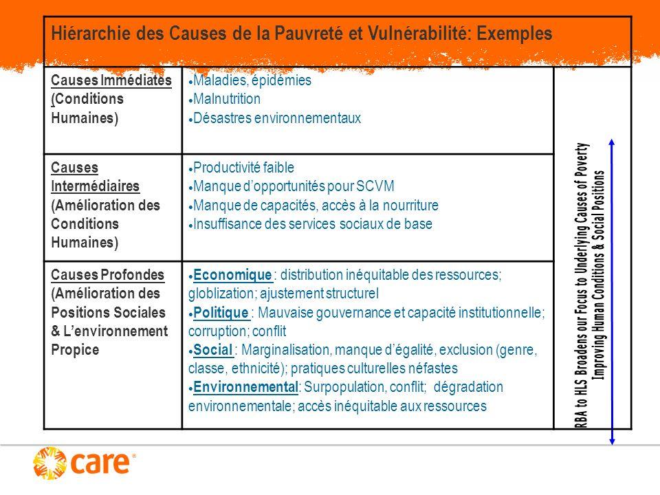 Hiérarchie des Causes de la Pauvreté et Vulnérabilité: Exemples Causes Immédiates (Conditions Humaines) Maladies, épidémies Malnutrition Désastres env