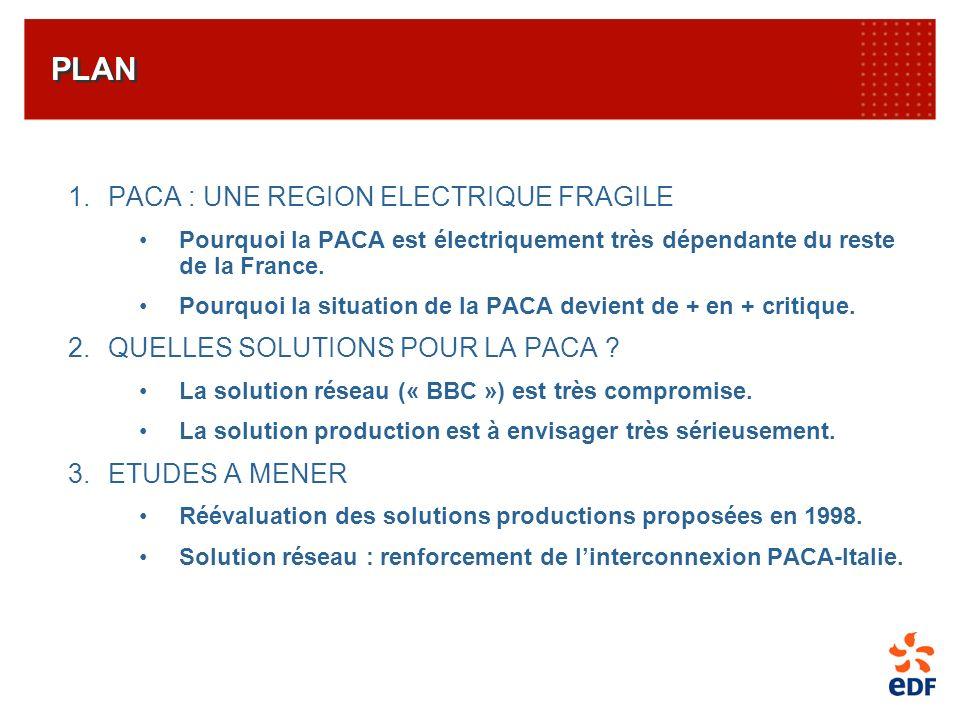 PLAN 1.PACA : UNE REGION ELECTRIQUE FRAGILE Pourquoi la PACA est électriquement très dépendante du reste de la France. Pourquoi la situation de la PAC