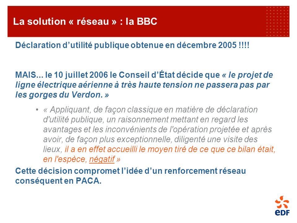 Déclaration dutilité publique obtenue en décembre 2005 !!!! MAIS... le 10 juillet 2006 le Conseil dÉtat décide que « le projet de ligne électrique aér