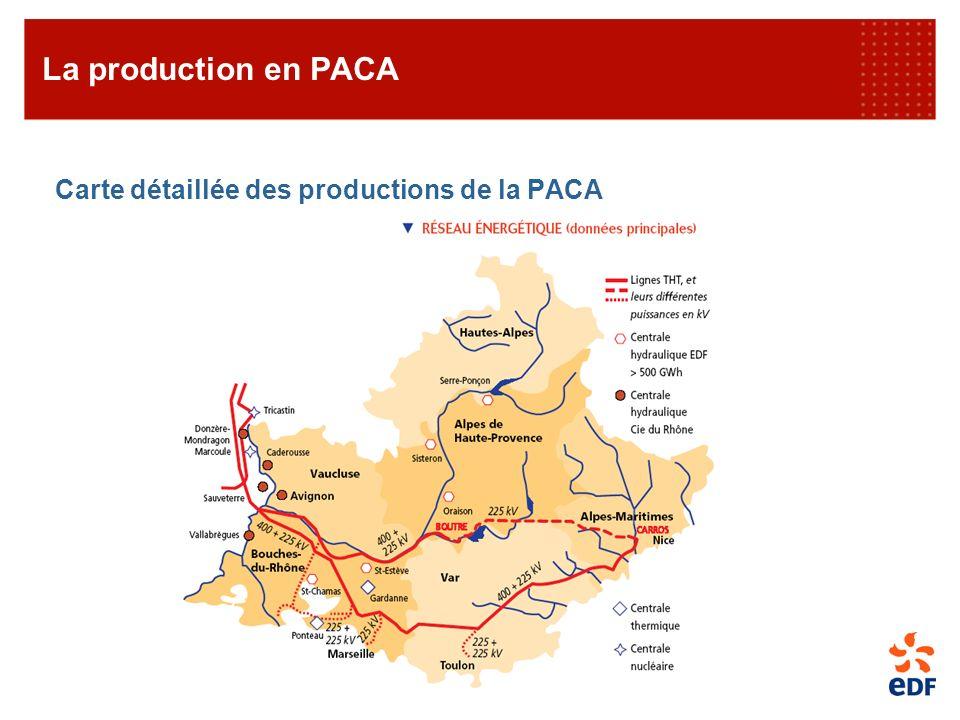 Carte détaillée des productions de la PACA La production en PACA