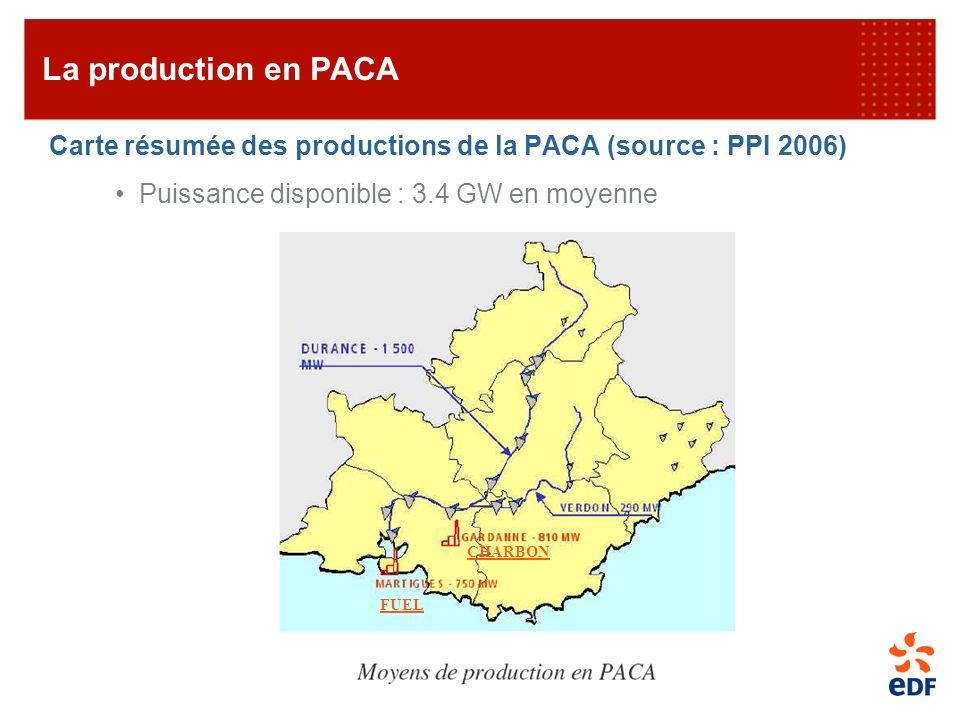Carte résumée des productions de la PACA (source : PPI 2006) Puissance disponible : 3.4 GW en moyenne La production en PACA CHARBON FUEL